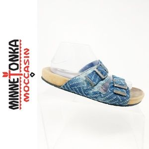 Minnetonka Denim Sandals Womens 10 Jean Blue Slide